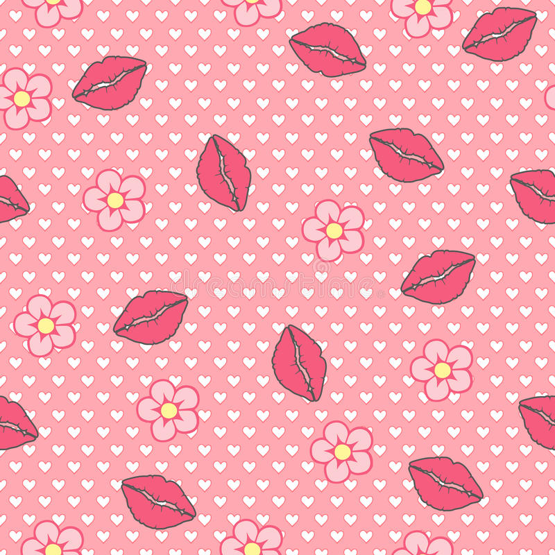 Kiss me. Vector seamless pattern, abstract background made of lips and flowers stock illustration