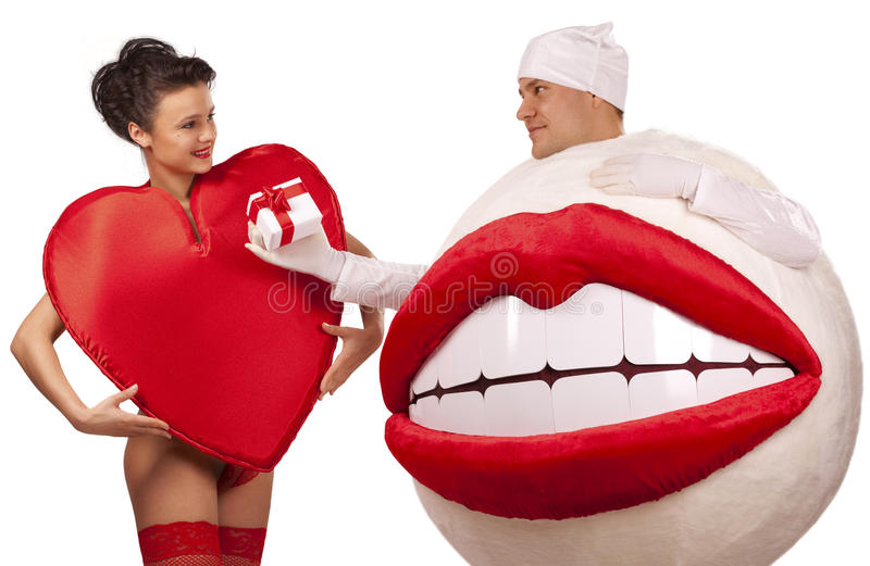Download Kiss Present A Gift To Heart Stock Image - Image: 17318627