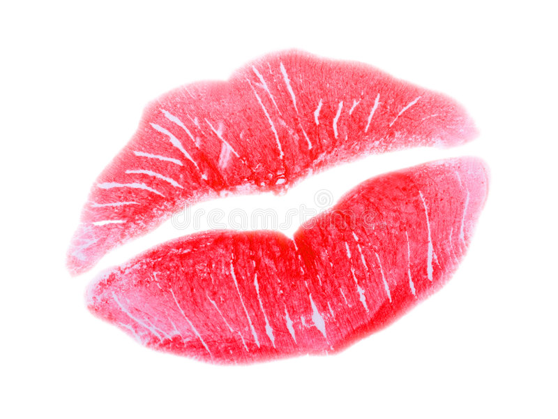 Kiss, red lips stock images