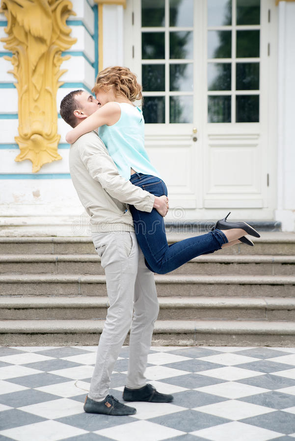 Kiss. Romantic love story, couple in park. Outdoor. Kiss. Romantic love story, couple in park stock images