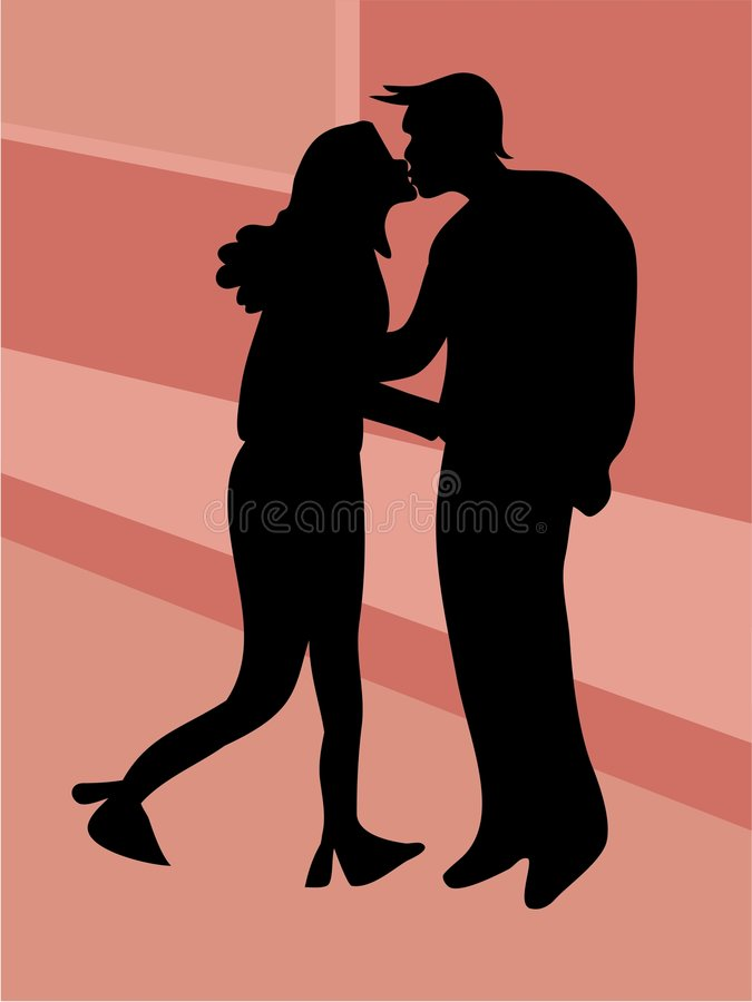 Kiss Sillouette royalty free illustration