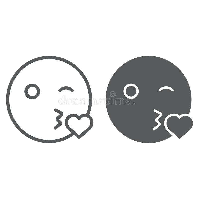 Kiss smile line and glyph icon, emoticon and expression, love emoji sign, vector graphics, a linear pattern on a white. Background, eps 10 stock illustration