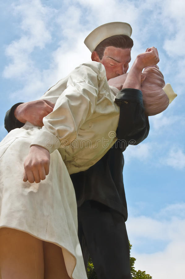 The Kiss, or Unconditional Surrender, Statue. Entitled Unconditional Surrender, this 25 foot, 6000 pound statue by noted artist J. Seward Johnson, commemorates stock images
