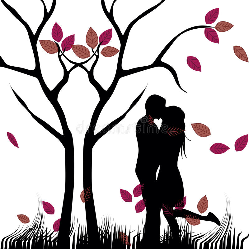 Kiss Under A Naked Tree Royalty Free Stock Photo