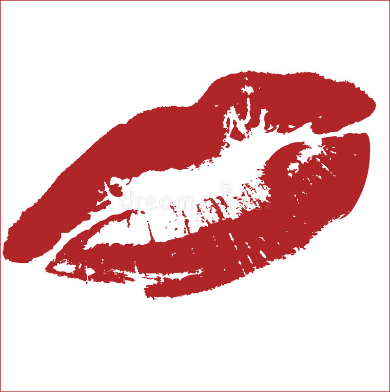 KISS VECTOR. LIPSTICK RED DESIGN ELEMENTS - CHANGE COLOR IF YOU WANT vector illustration