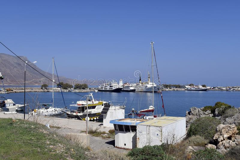 Greece, ships in harbor in Crete near Chania royalty free stock image