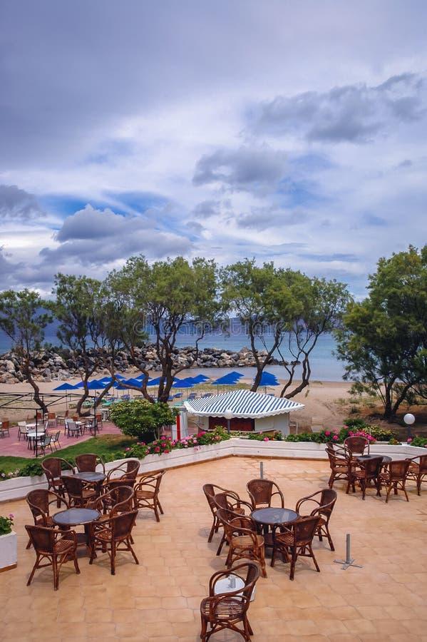 Kissamos in Greece. Restaurant terrace in Kissamos town on the Crete Island, Greece royalty free stock photo