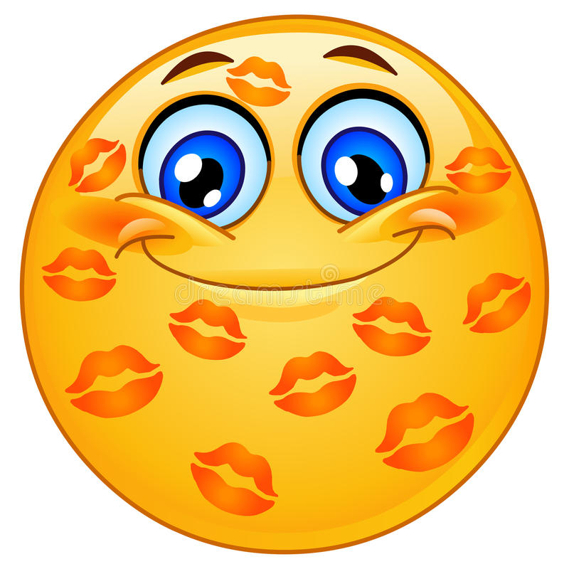 Kissed emoticon. Design of an emoticon with many kisses royalty free illustration