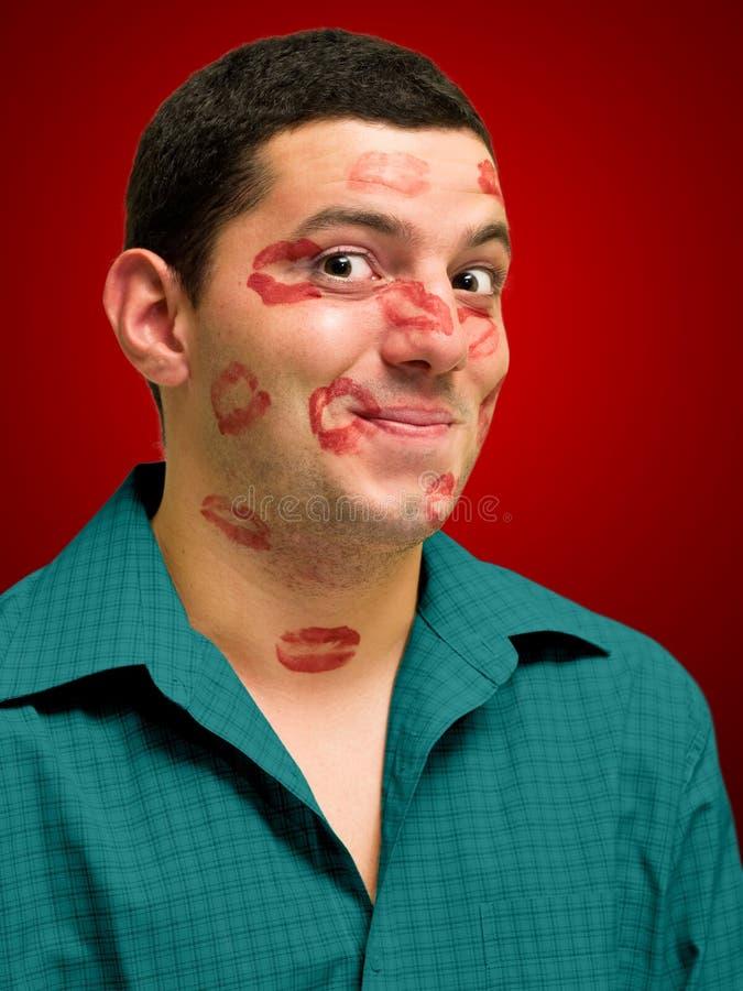 Kissed man stock photos
