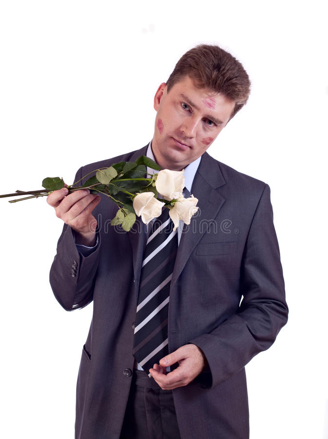 Kissed Man With White Roses Stock Photo