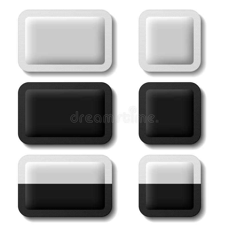 Kissen, das schwarzes Weiß verpackt vektor abbildung