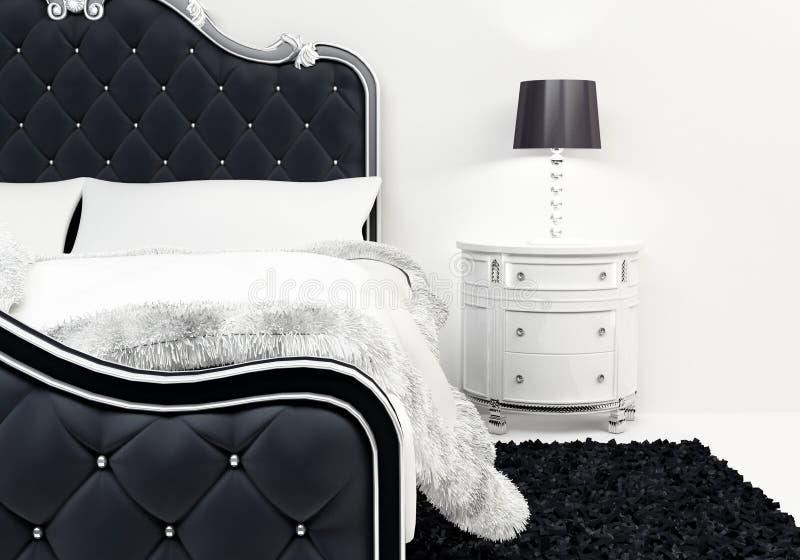 Kissen und Bedeckung auf dem luxuriösen Bett vektor abbildung