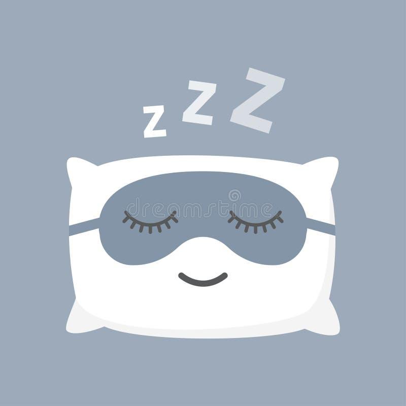 Kissen und schwarze Maske für bequemen Schlaf stock abbildung