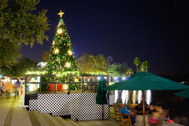 Kissimmee夜:圣诞节装饰 库存照片
