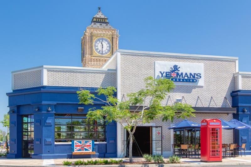 KISSIMMEE, FLORIDA - 29 DE MAIO DE 2019 - o barril & o leão do yeoman Um bar e um restaurante britânicos situados na área de comp fotografia de stock royalty free