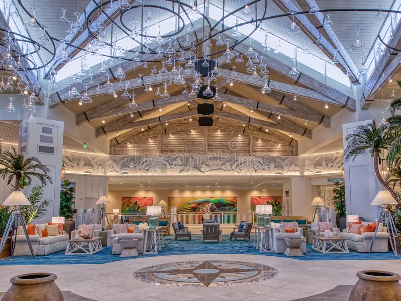 KISSIMMEE, FLORIDA - MAY 29, 2019 - Margaritaville Resort Orlando. Indoor main lobby with tropical island theme with ceiling royalty free stock photo