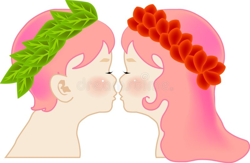 Kissing. Vector illustration for a kissing of adam and eve, bible story, imagination stock illustration