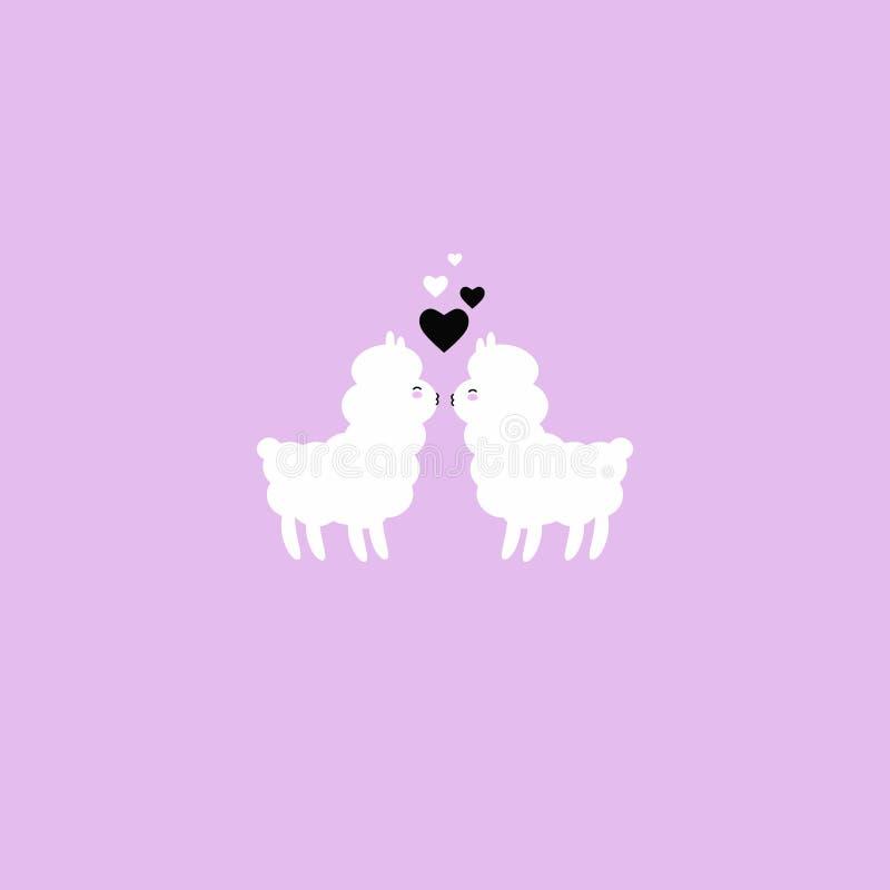 Kissing alpacas illustration. Vector illustration with kissing alpacas and hearts vector illustration