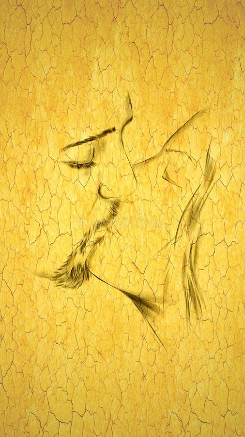 Kissing. Man and woman kissing showing broken love vector illustration