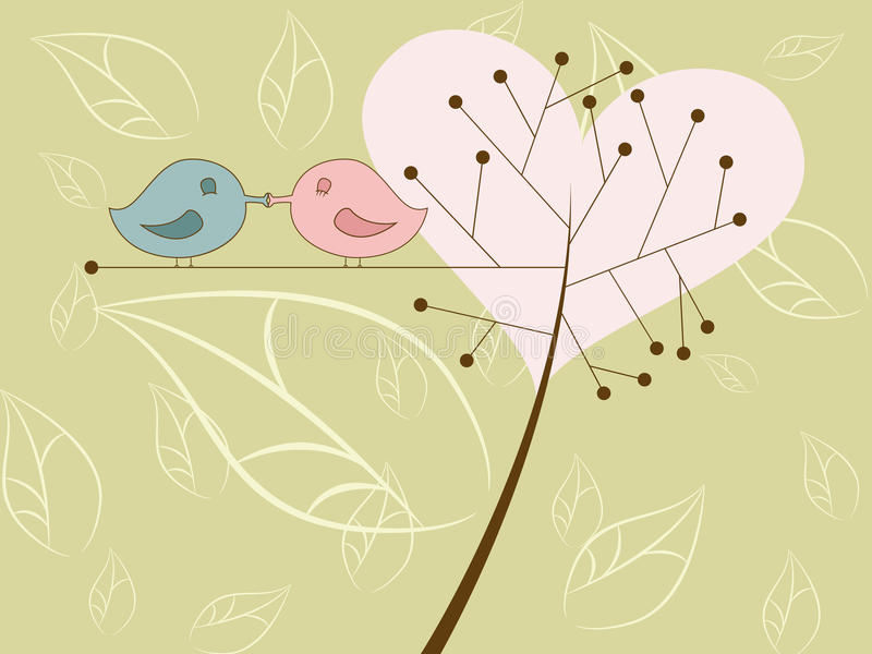 Kissing birds. Vector picture of kissing birds vector illustration
