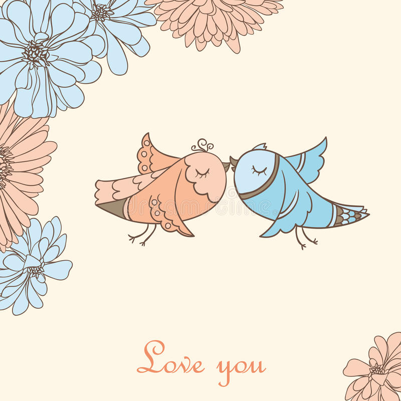 Kissing birds. Cute valentine background with kissing birds vector illustration