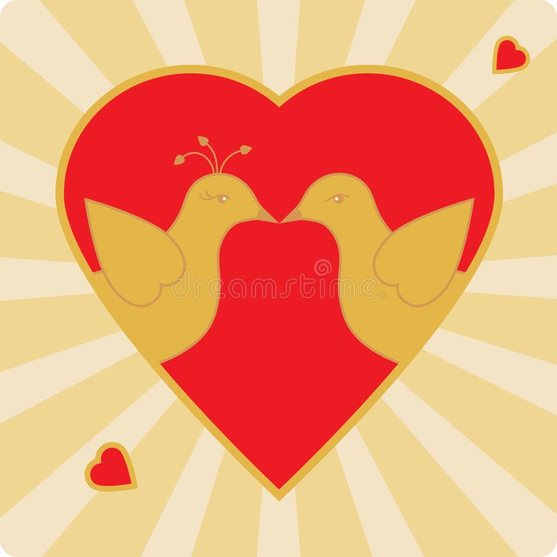 Kissing birds. Illustration of two birds kissing in a heart shaped frame. EPS8 vector file also available royalty free illustration