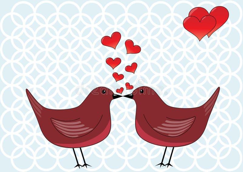 Kissing birds vector illustration