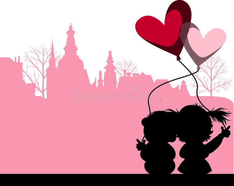 Kissing Couple above the City. Couple kissing above the city. Vector images scale to any size royalty free illustration