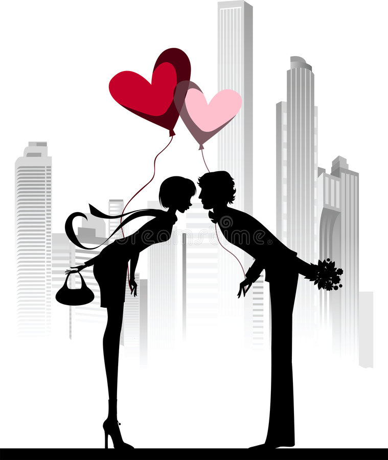 Download Kissing Couple Above The City. Stock Photos - Image: 8068593