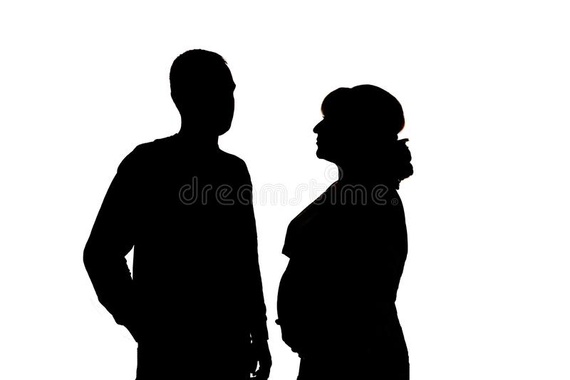 Black silhouettes on white background. In isolation royalty free stock photography
