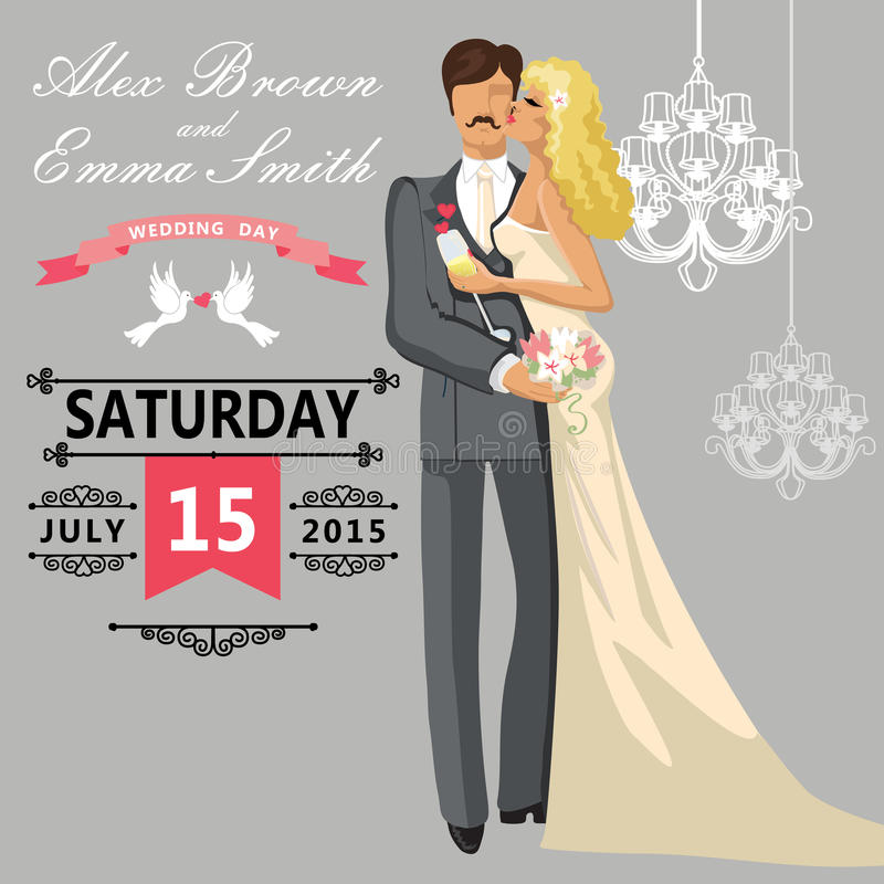 Kissing couple bride and groom. Cute wedding invitation. The wedding invitation with Cartoon kissing couple bride and groom with vignettes,ribbon,pigeons.Vector stock illustration