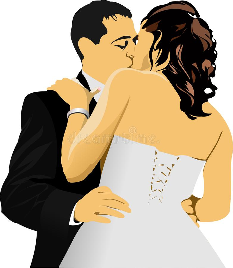 Kissing Couple. Bride and Groom.. stock illustration