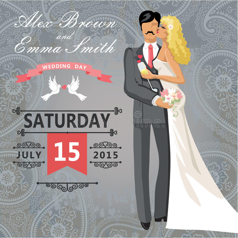 Kissing Couple Bride And Groom. Wedding Invitation With Paisley ...