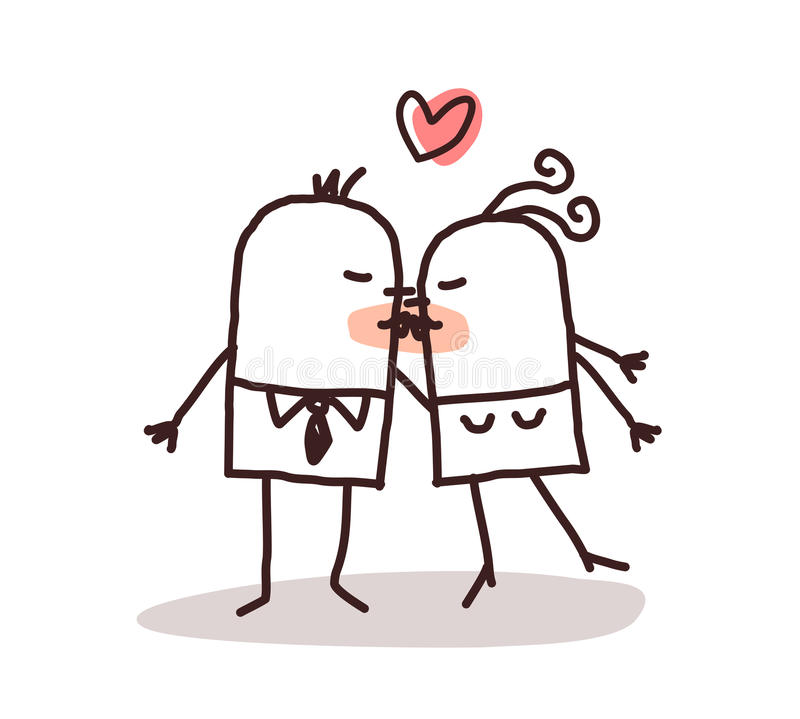 Kissing couple. Cartoon illustration vector illustration