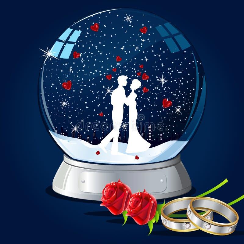 Kissing Couple in Glass Globe. Illustration of couple kissing in glass globe with hearts and ring stock illustration
