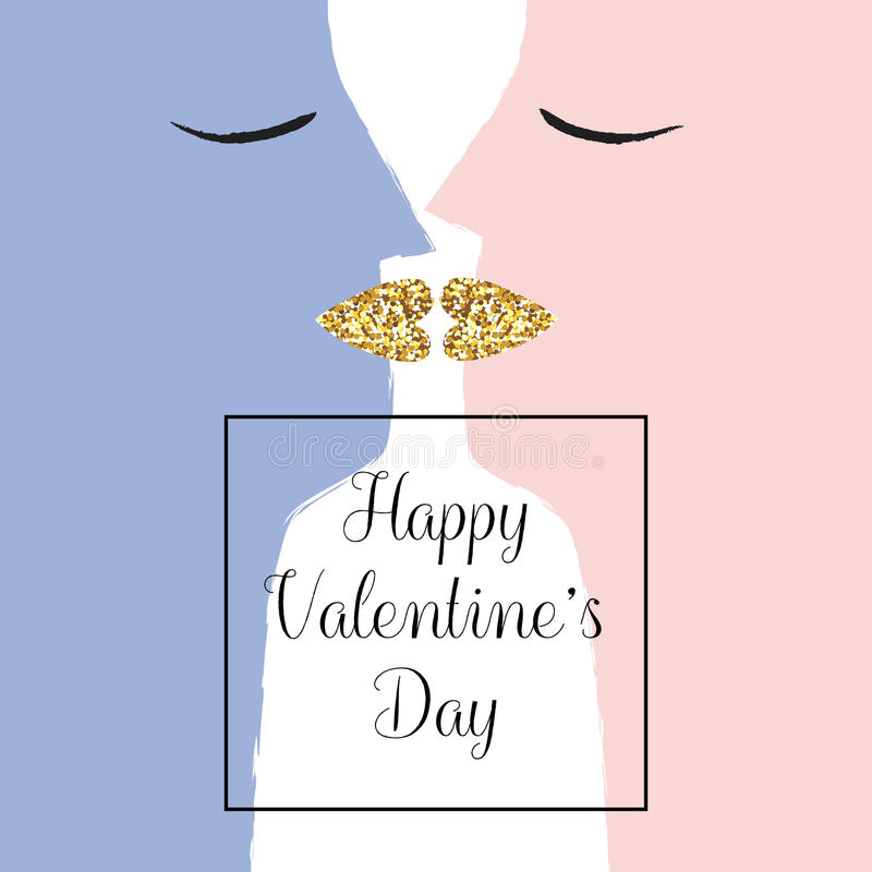 Kissing couple with golden lips. Valentine`s Day. Love card. royalty free illustration
