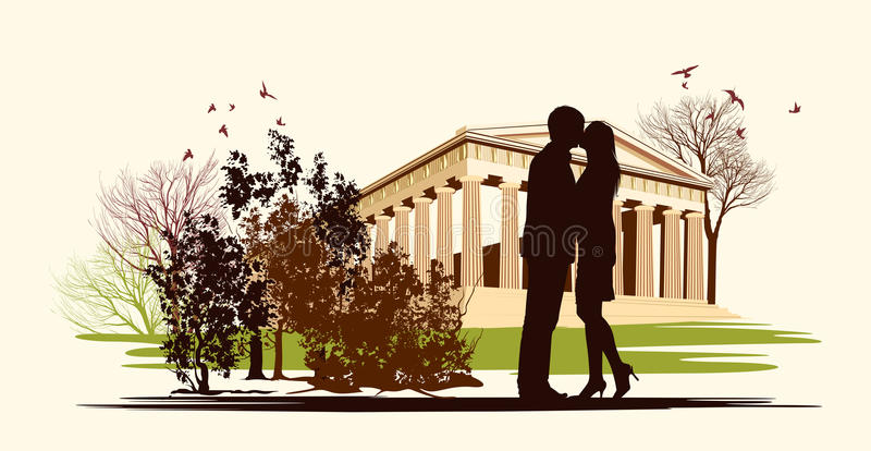 Kissing couple in historical square stock illustration