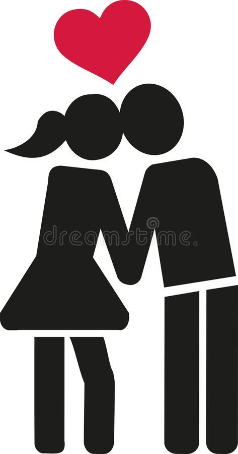 Kissing couple in love icon royalty free illustration