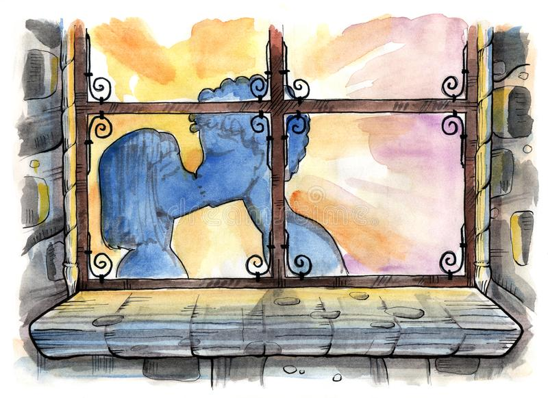 Kissing couple silhouette. Through the window. Hand drawn illustration. Watercolor painting royalty free illustration