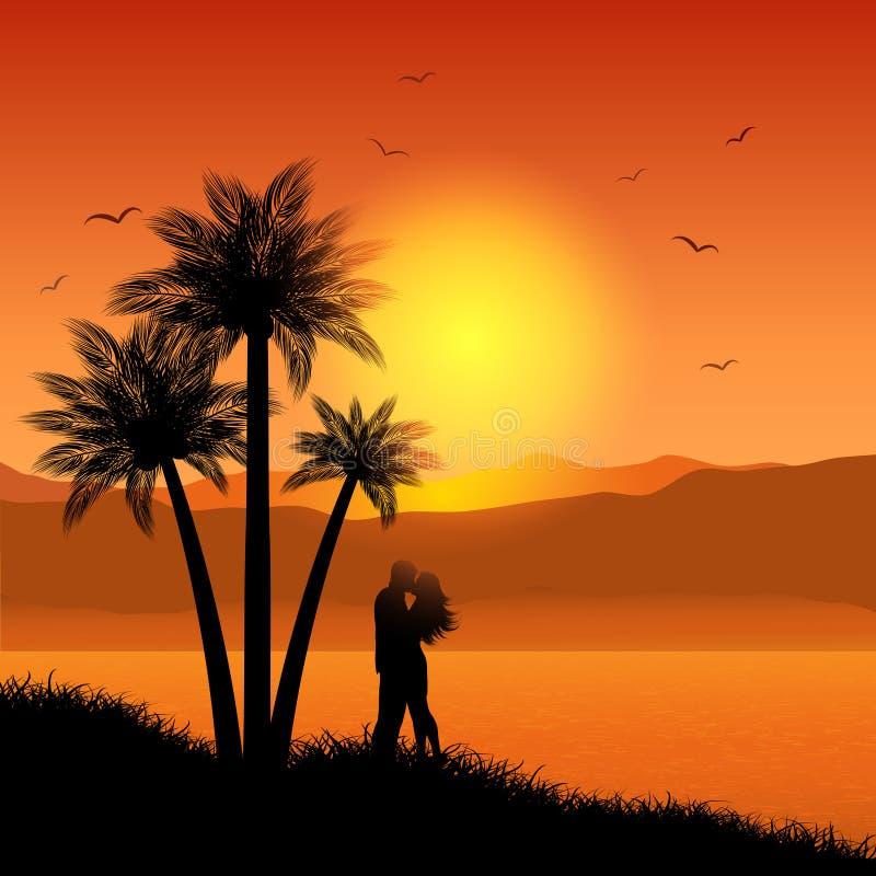 Kissing couple in tropical landscape. Silhouette of a kissing couple on a tropical landscape stock illustration