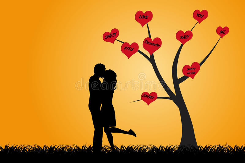 Kissing couple under the tree. Kissing couple are standing under a tree with red hearts which words of love as silhouette royalty free illustration