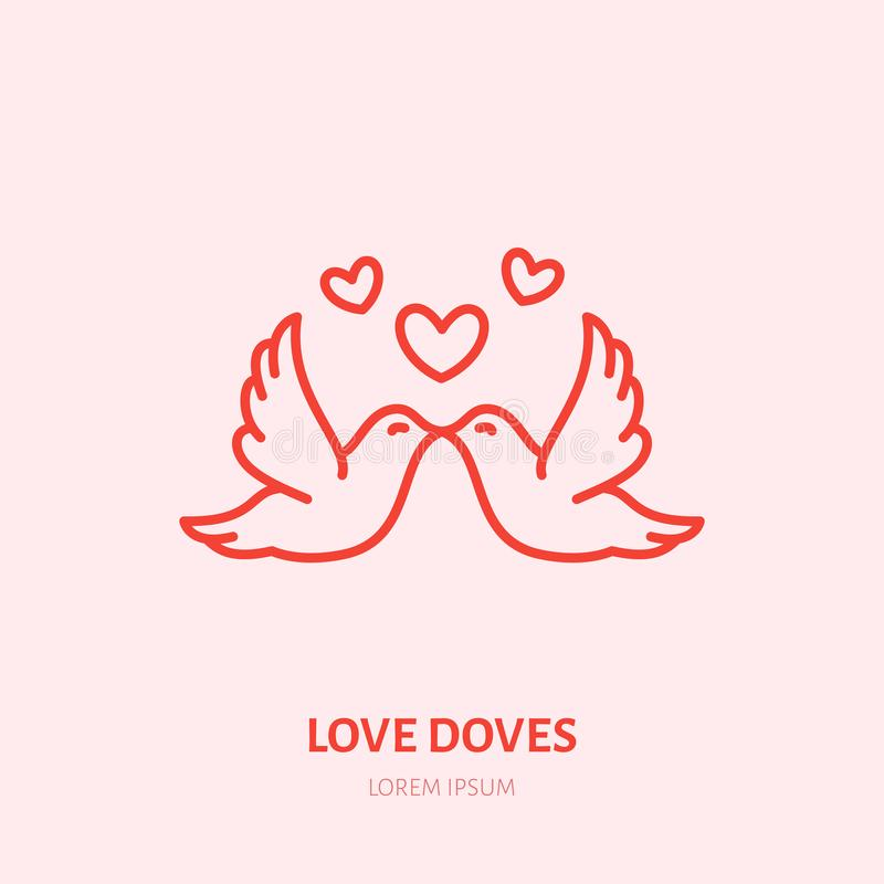Kissing doves illustration. Two flying birds in love flat line icon, romantic relationship. Valentines day greeting sign.  stock illustration