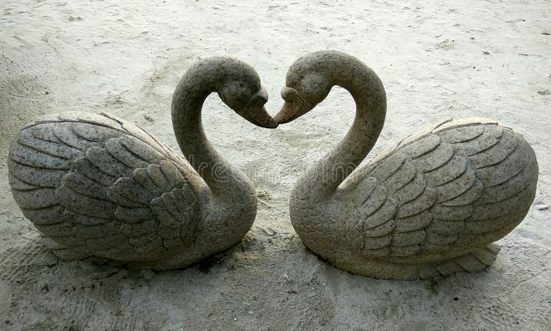 Kissing duck sculpture royalty free stock photo