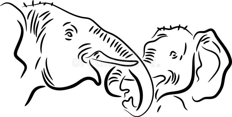Kissing of elephants. Illustrated brush stroke image on isolated white background vector illustration