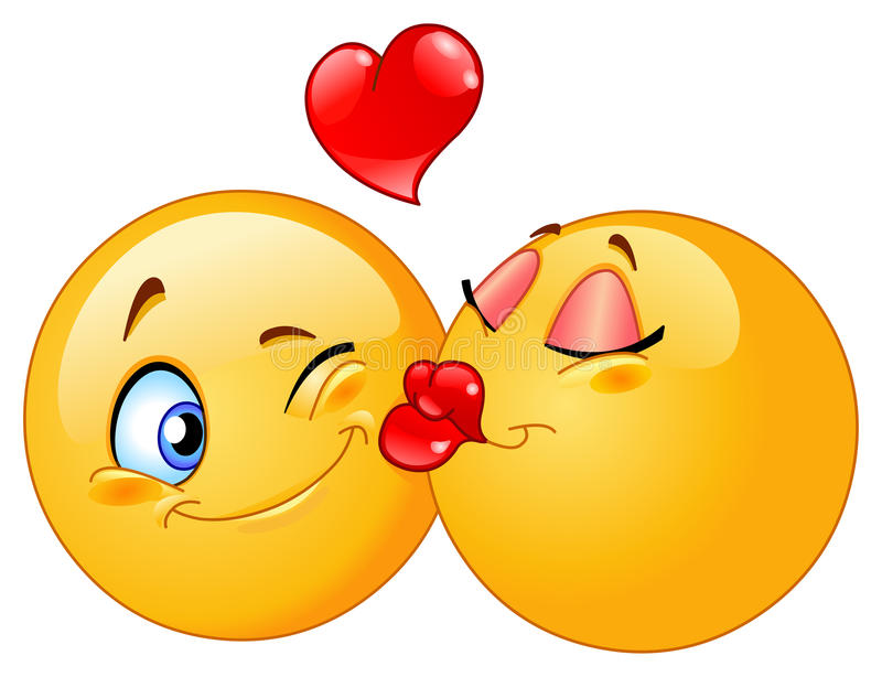 Kissing emoticons vector illustration