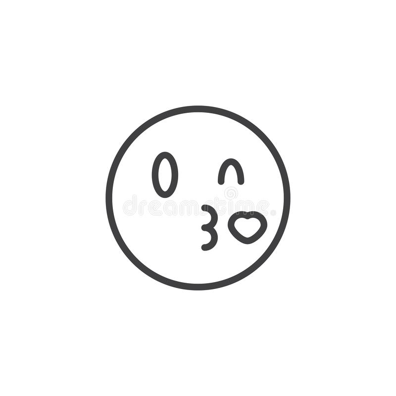 Kissing face emoji line icon. Linear style sign for mobile concept and web design. Blowing a heart kiss emoticon outline vector icon. Symbol, logo illustration royalty free illustration