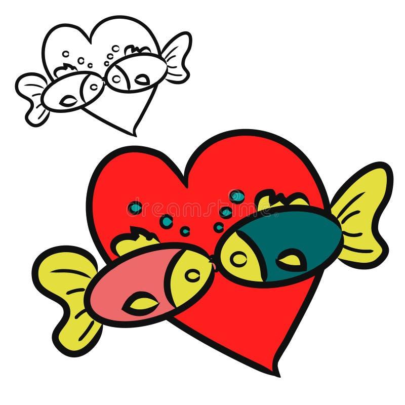 Kissing fish two fish stock vector image of flirt card for Fish 2 flirt