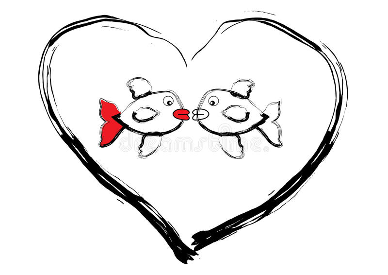 Kissing fishes. Illustration of fishes in the heart vector illustration