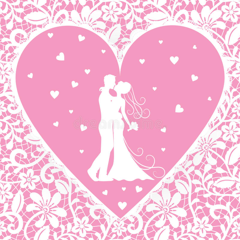 Kissing groom and bride on lace background royalty free illustration