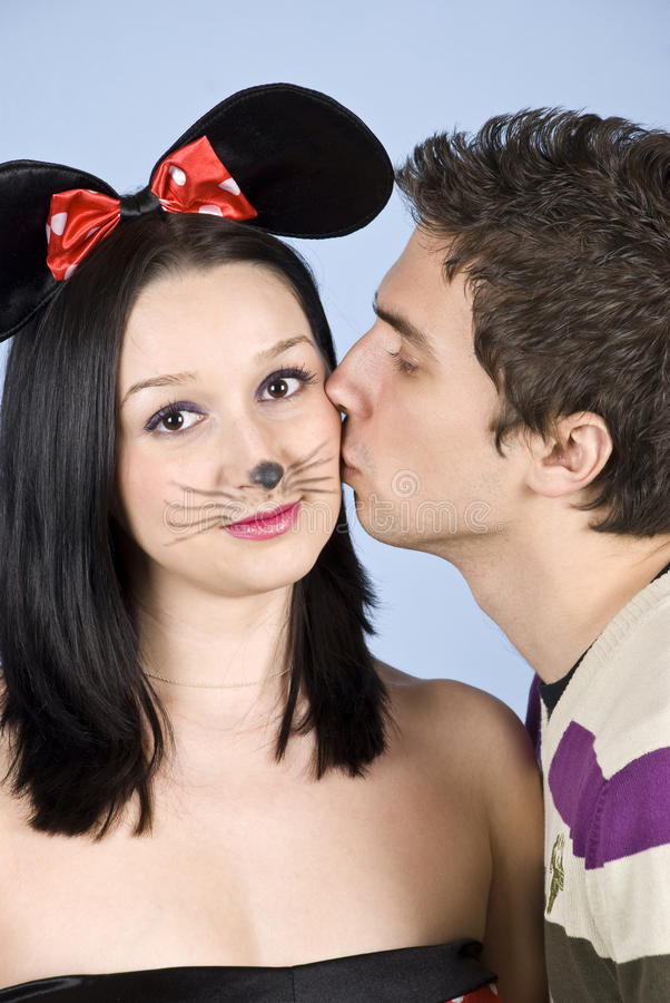 Download Kissing Her Cheek Stock Image - Image: 12517821